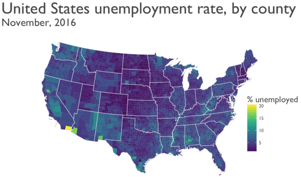 Mapping unemployment data, 2016