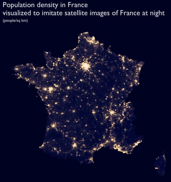 """Mapping """"France at night"""" with the new sf package"""