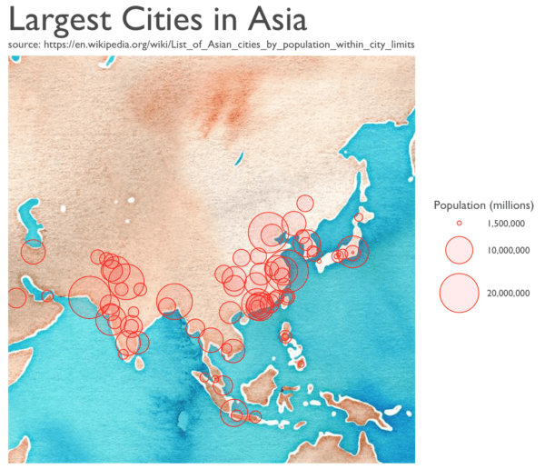 Map Of Asia Cities.Mapping The Largest Cities In Asia Using R R Bloggers