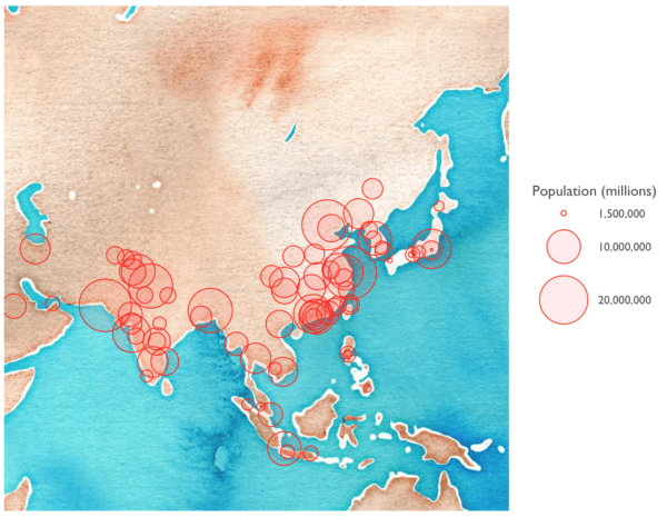Mapping the largest cities in Asia using R