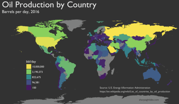 Mapping oil production by country in R